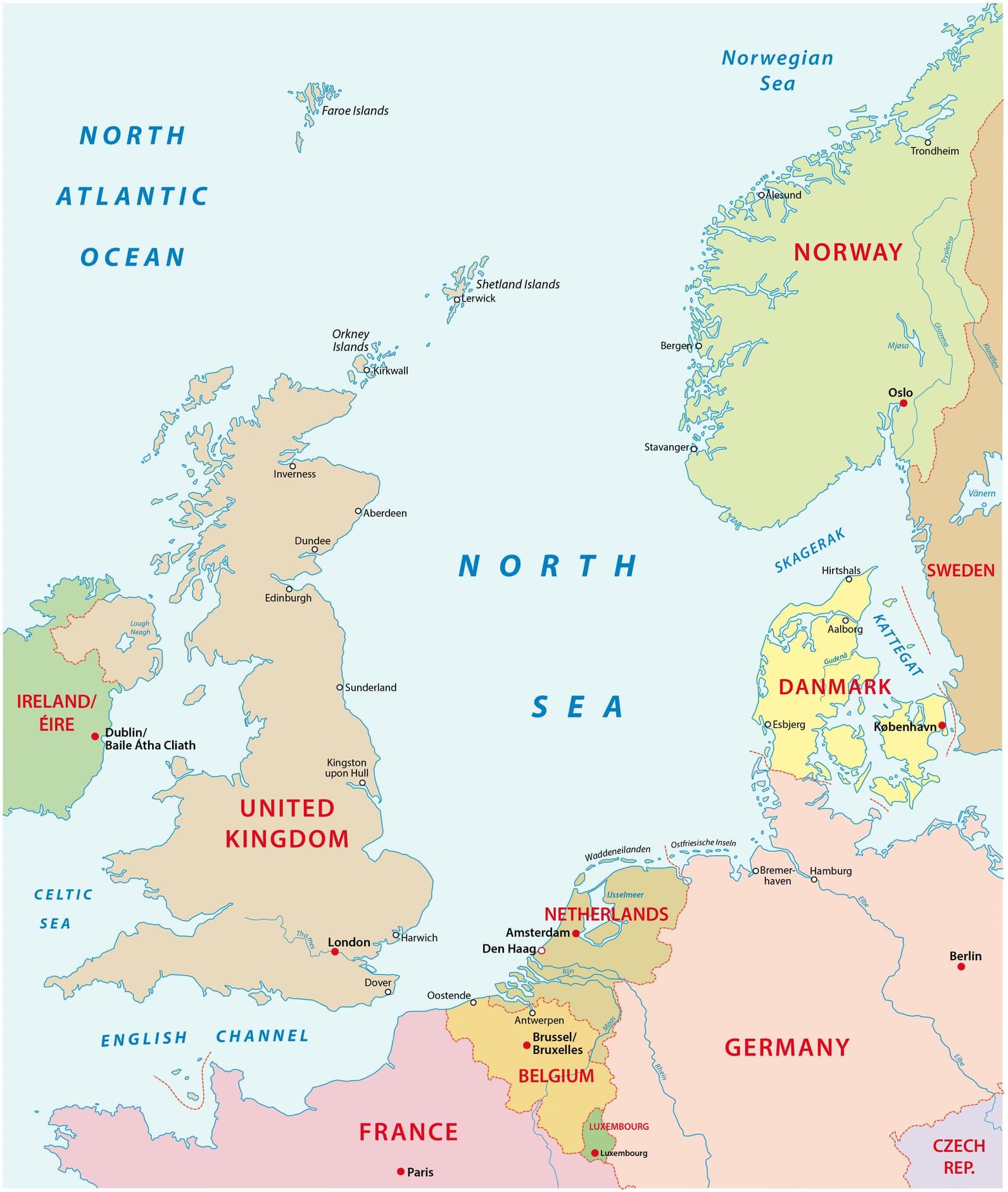 Karte der Nordsee