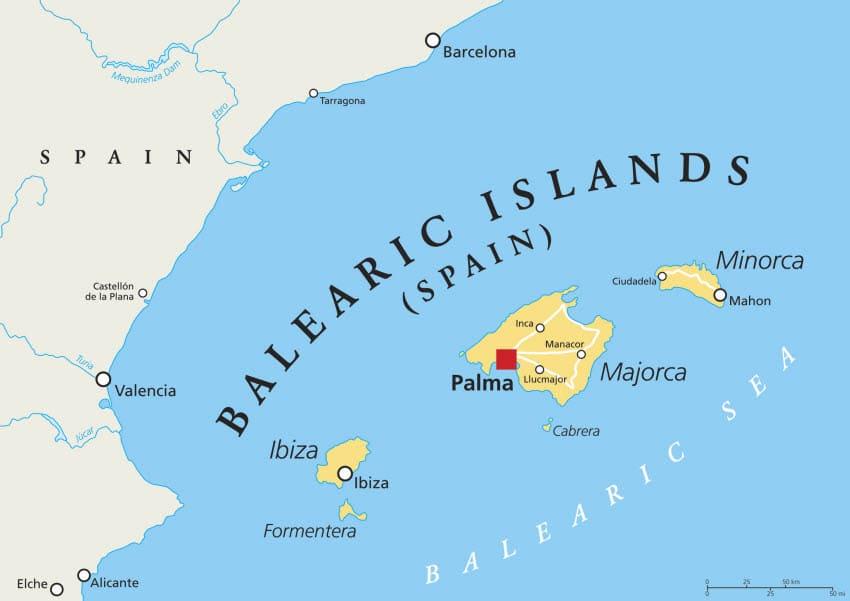 Wassertemperatur-Karte der Balearen