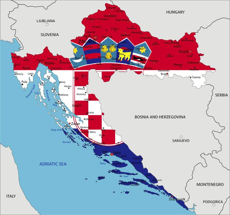 Wassertemperatur-Karte von Kroatien