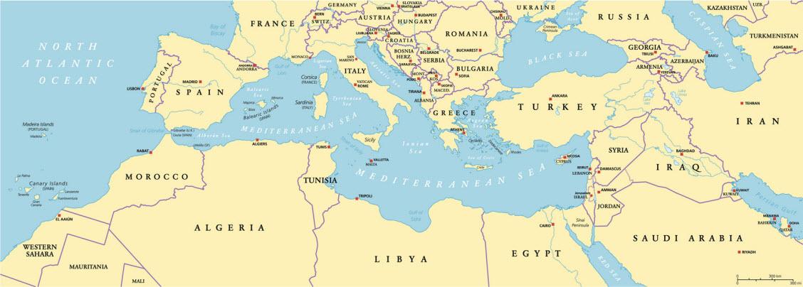 Wassertemperatur-Karte vom Mittelmeer