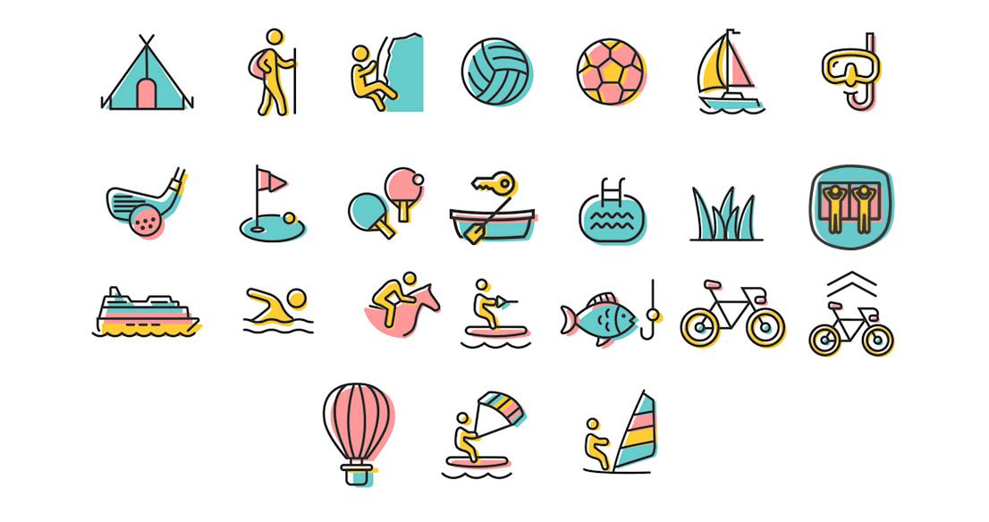 Illustration der Aktivitäten im & am Gardasee
