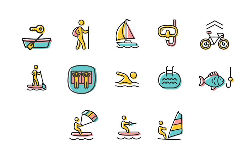 Illustration der Aktivitäten im & am Neusiedler See