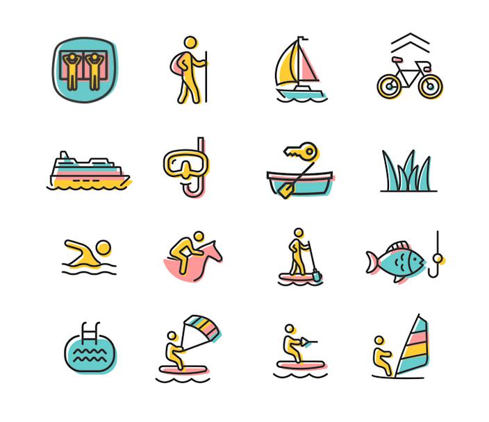 Illustration der Aktivitäten im & am Plattensee