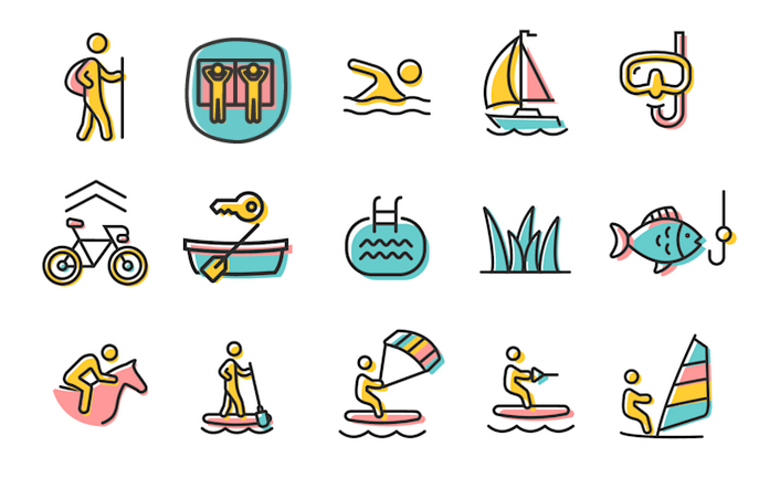 Illustration der Aktivitäten im & am Klopeiner See