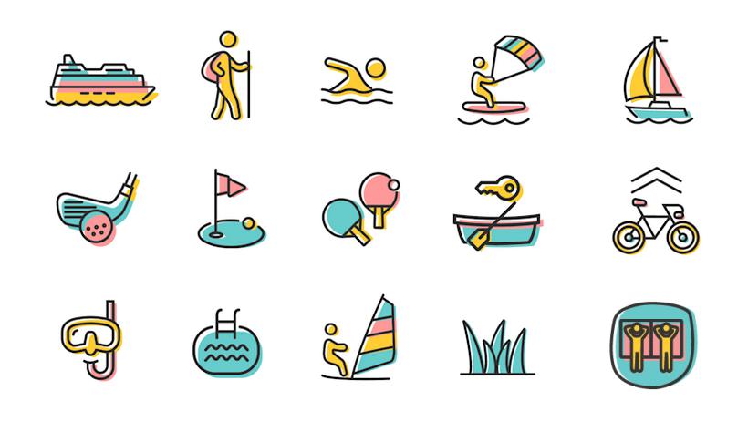 Illustration der Aktivitäten im & am Tegernsee
