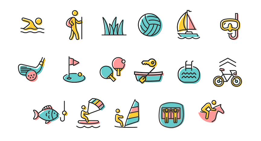 Illustration der Aktivitäten im & am Waginger See