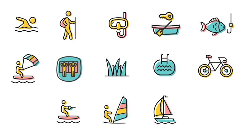 Illustration der Aktivitäten im & am Walchensee