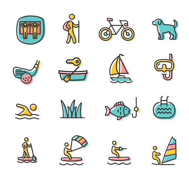 Illustration der Aktivitäten im & am Wolfgangsee